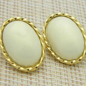 Trifari TM Pearlized Faux Pearl Post Earrings